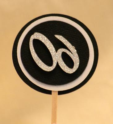 black white 60 cupcake toppers