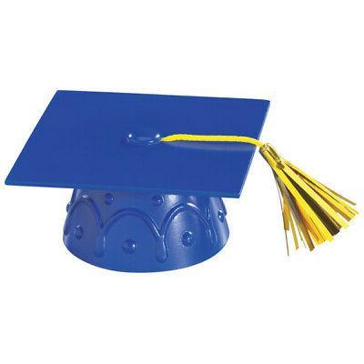 Blue Graduation Cap Hat Cake Topper Cupcake Candy Cookie Dec