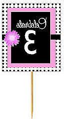 #BPP-003 Happy 3rd Birthday Pink Black Polka Dot Cupcake Top