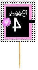 #BPP-004 Happy 4th Birthday Pink Black Polka Dot Cupcake Top