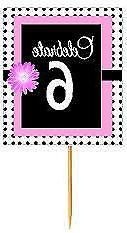#BPP-006 Happy 6th Birthday Pink Black Polka Dot Cupcake Top