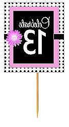 #BPP-013 Happy 13th Birthday Pink Black Polka Dot Cupcake To