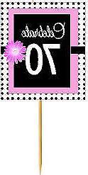 #BPP-070 Happy 70th Birthday Pink Black Polka Dot Cupcake To