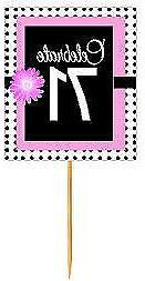 #BPP-071 Happy 71st Birthday Pink Black Polka Dot Cupcake To