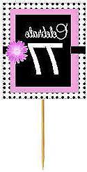 #BPP-077 Happy 77th Birthday Pink Black Polka Dot Cupcake To