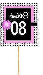 #BPP-080 Happy 80th Birthday Pink Black Polka Dot Cupcake To