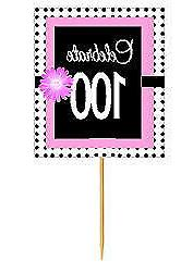 #BPP-100 Happy 100th Birthday Pink Black Polka Dot Cupcake T
