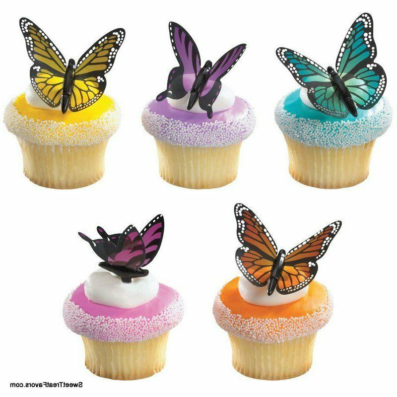 butterfly cupcake toppers 12 pcs ration party