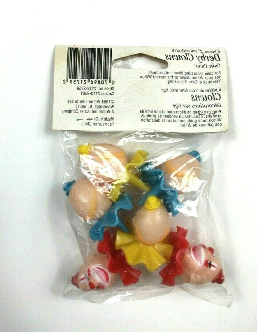 Wilton Clowns Plastic Cupcake Toppers Picks Set 6 Vintage