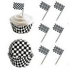 Checkered Flag Race Car Cupcake Toppers and Baking Liners Fo