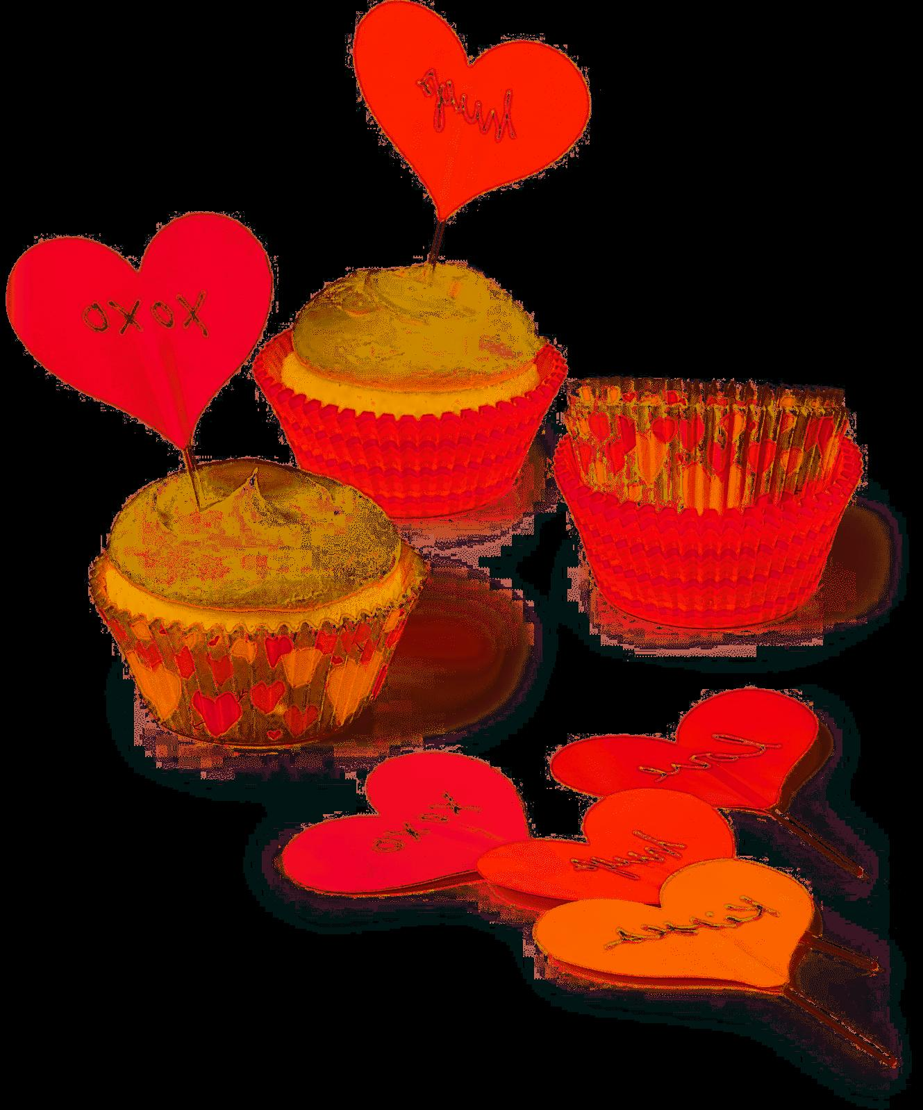 collection heart cupcake liners toppers