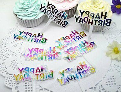 Warmtree Colourful Cupcake Cake Toppers,Pack of