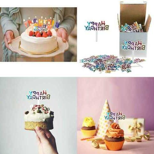 Colourful Mini PLASTIC Happy Birthday Cupcake Cake Toppers P