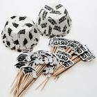 Congrats Graduation Cupcake Liners Wooden Picks and Paper To