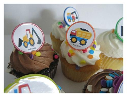 Construction vehicles Rings cupcake toppers - 12ct dump favor