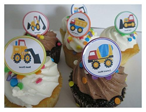 Construction Rings toppers 12ct - dump truck favor