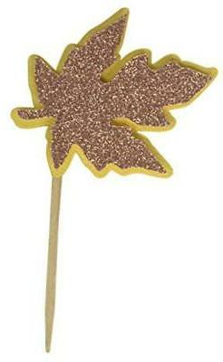 All About Details Copper Fall Leaf Cupcake Toppers, 12pcs