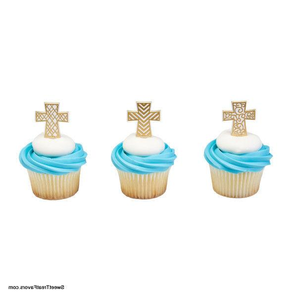 cross baptism cupcake cake topper 12 18
