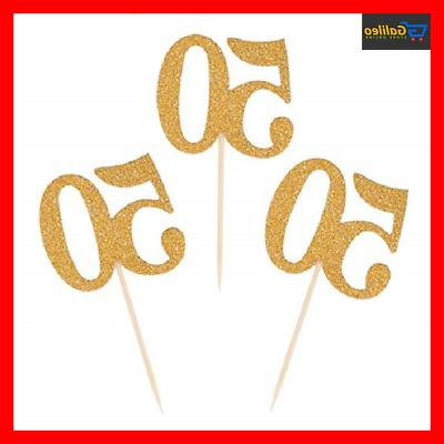 cupcake toppers gold glitter 50