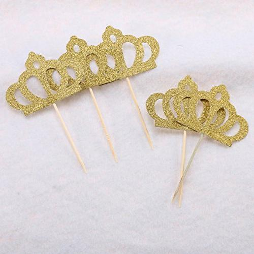 OUNONA 50 Pack Toppers Gold Princess Cake Table