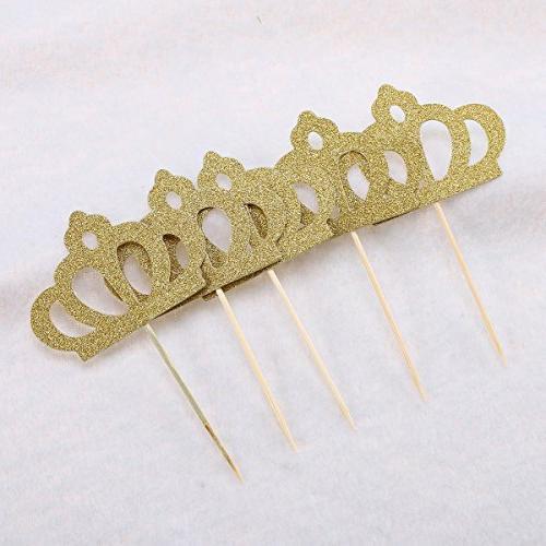 OUNONA 50 Toppers Gold Princess Cake Table Decor