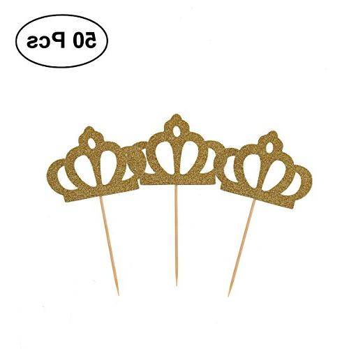 cupcake toppers gold glitter crown