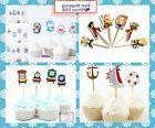 Cupcake toppers Pirate,dragon ball,Thomas train,Doraemon ,Ki