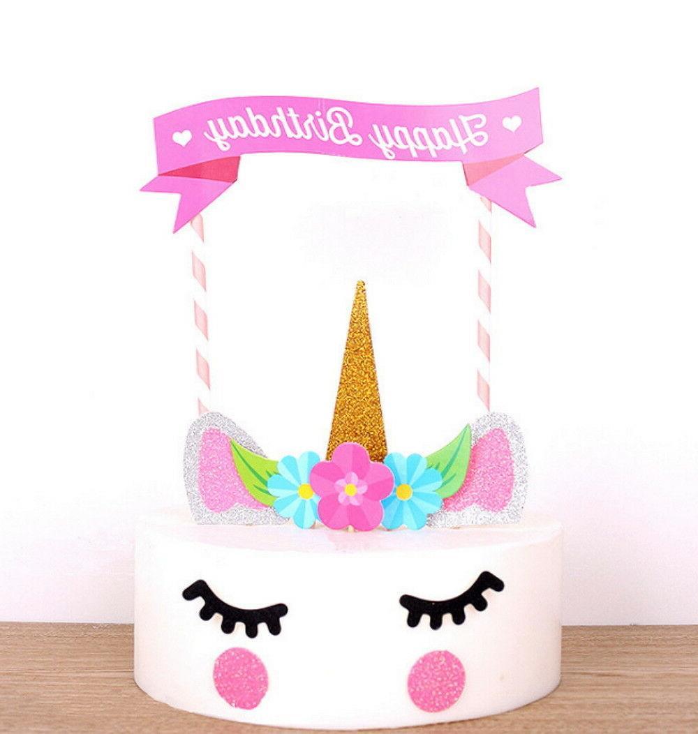 Cute Handmade Unicorn Cupcake Decoration Birthday Party US