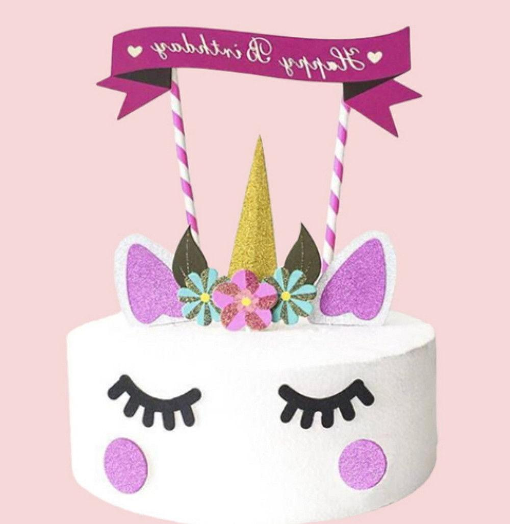 Cute Handmade Unicorn Cupcake Topper Decoration Birthday Party Supplies