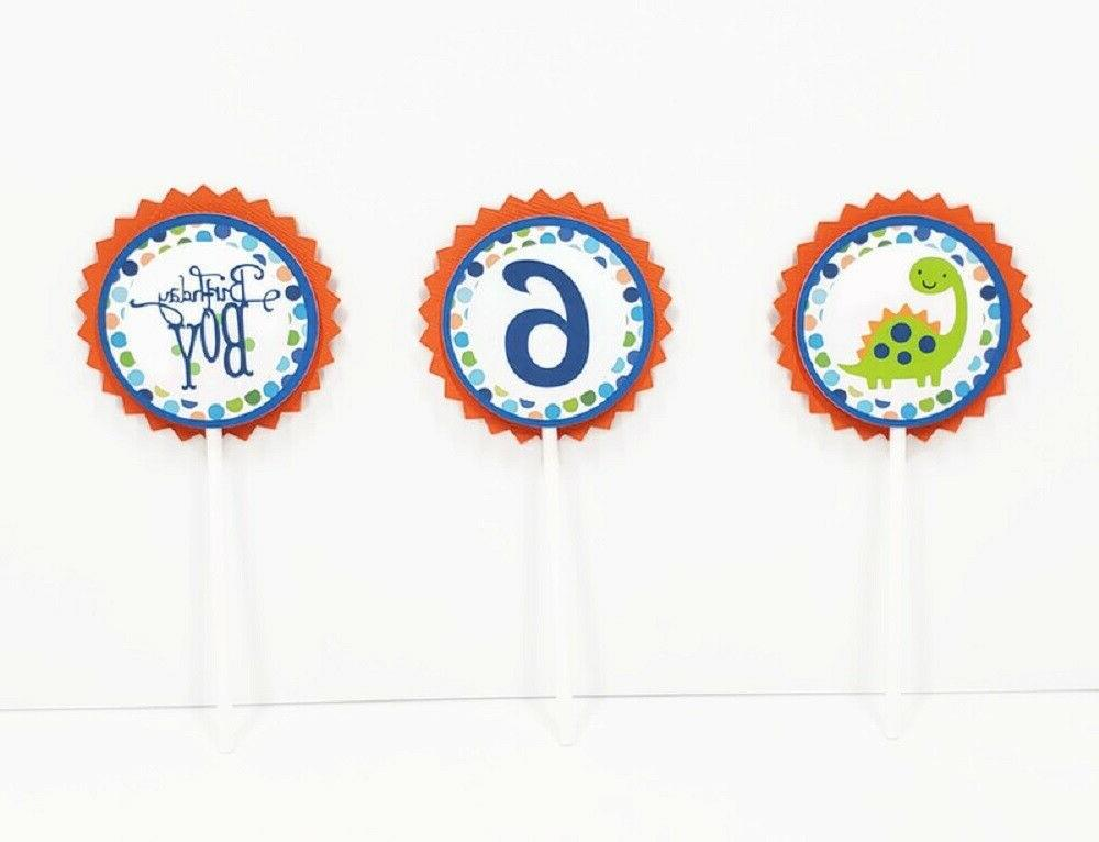 dinosaur boy birthday cupcake toppers picks reptile