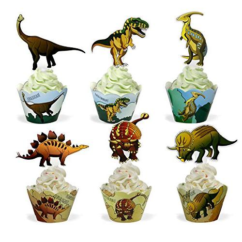 Dinosaur Supplies Cupcake Toppers and Wrappers Pack Cupcake Decrorations Birthday
