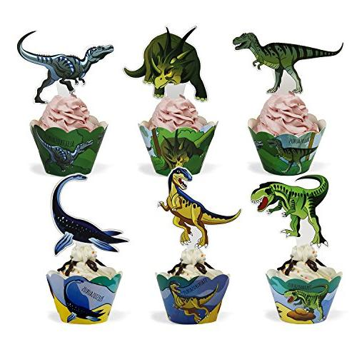 Dinosaur Cupcake Toppers and 24 Pack Decrorations for Birthday Party