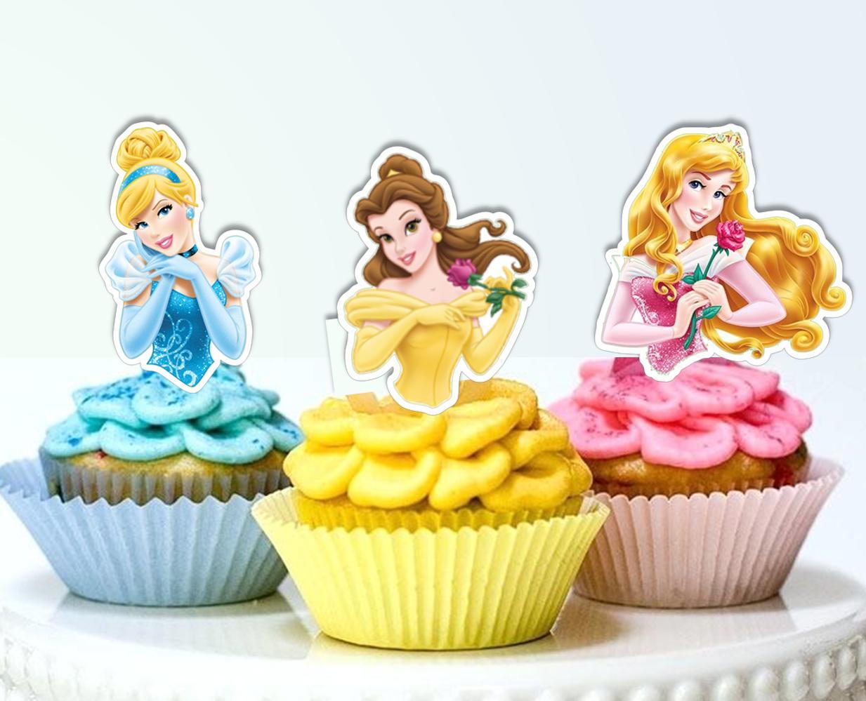 disney princesses half body edible wafer cupcake