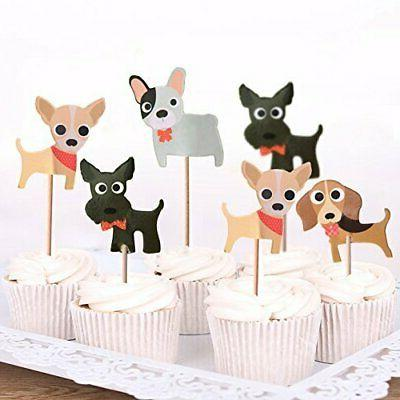 Dog Cupcake Toppers Theme Party