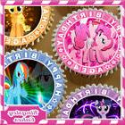 EDIBLE ICING SHEET 24 x LITTLE PONY MIXED 4TH BIRTHDAY CUPCA