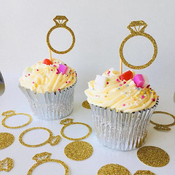 engagement ring cupcake toppers 12 pieces