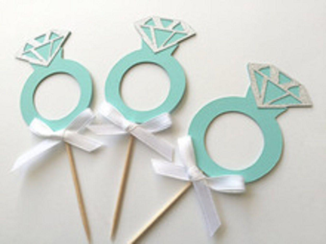 Engagement Ring Cupcake Toppers for Engagements and Weddings