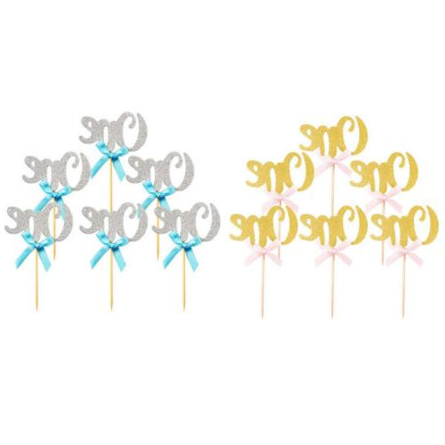 First Birthday Cupcake Toppers Boys Girls 1st Year Party Dec