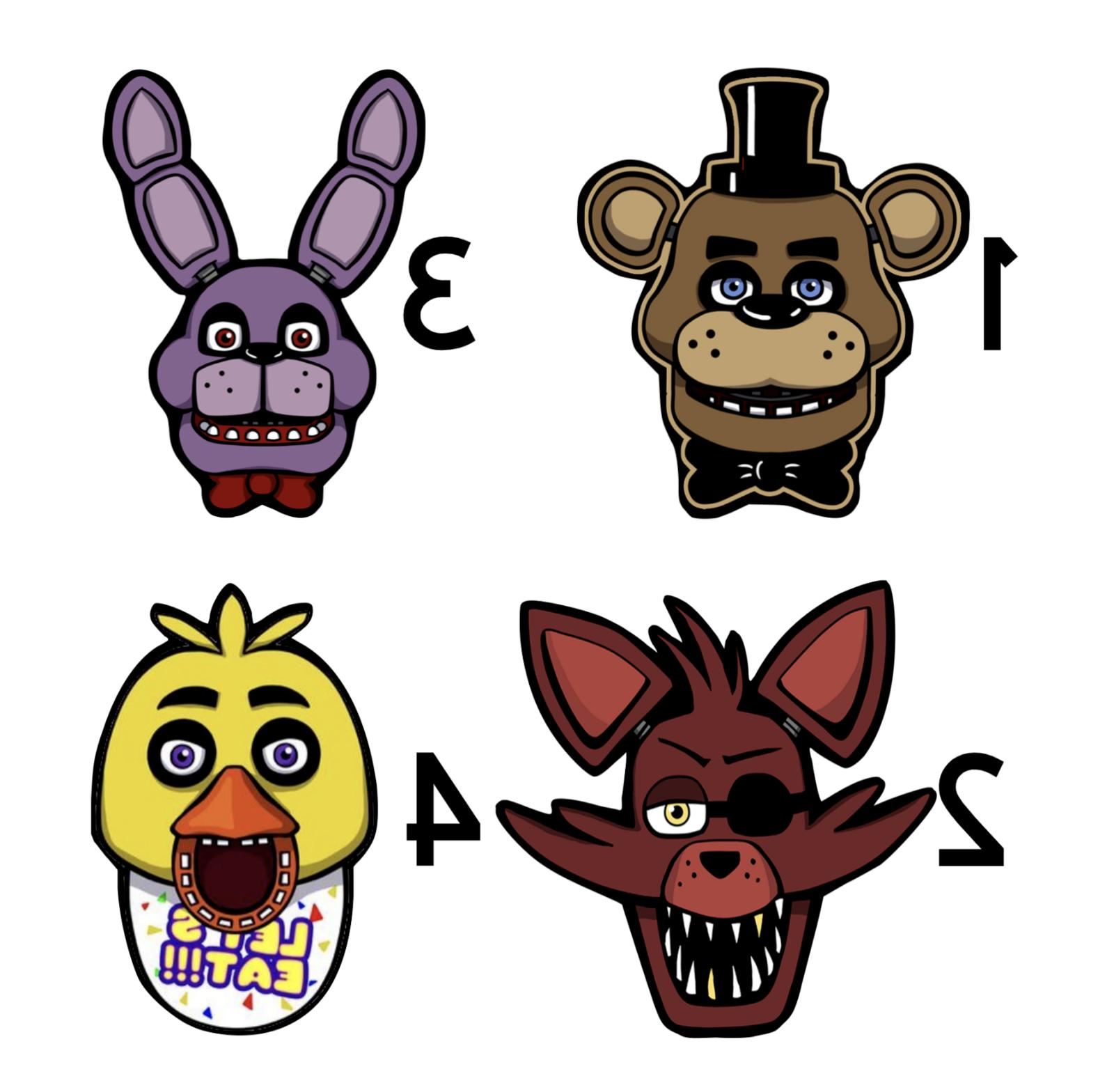 Five FNAF Stickers for Kids Birthday