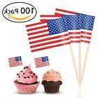 BESTOYARD Flag Picks American Flag Cupcake Toppers for Party