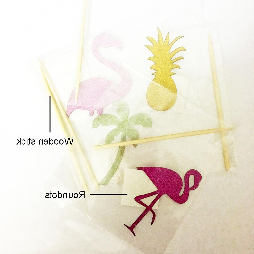 Flamingo Pineapple Birthday Cupcake Toppers Party Shower Wedding Decor