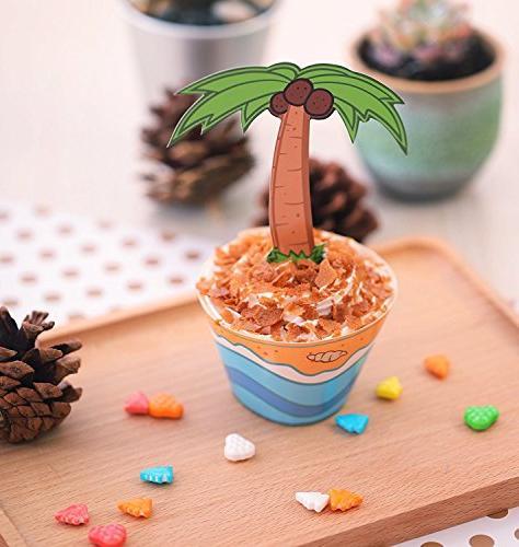 Moon 45 Flamingo / Palm Cupcake - Hawaiian Pool Cake Decorations