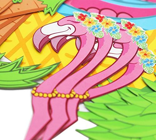 Moon 45 PCS Flamingo Palm Cupcake Wrappers - Luau Pool Party Cake Decorations
