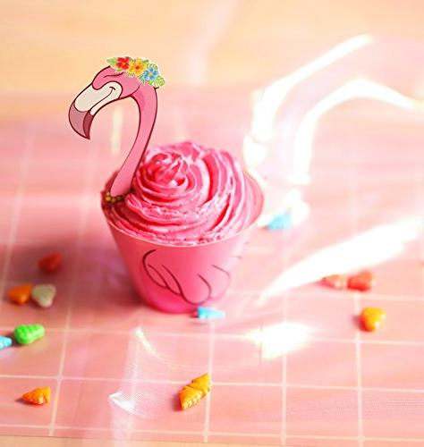 Moon Boat 45 Flamingo / / Palm Toppers - Luau Tropical Pool Party Cake Decorations
