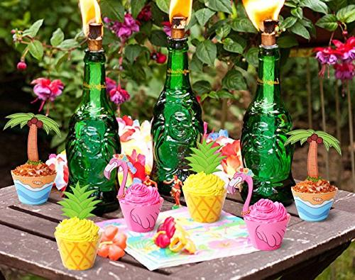Flamingo Palm Cupcake - Tropical Pool Party Decorations