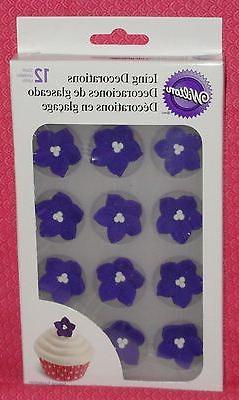 flower purple posy edible cupcake toppers royal