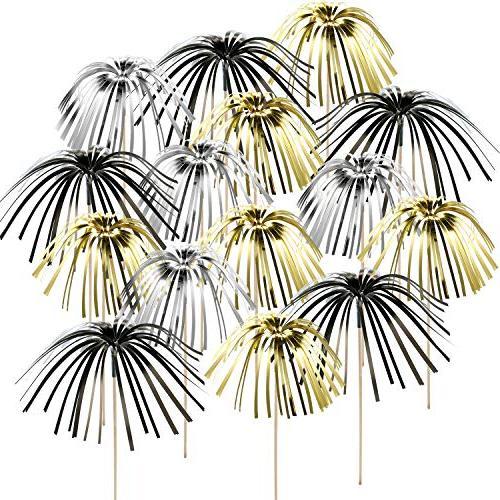 foil frill firework cupcake picks