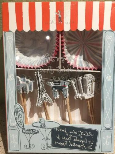 french themed cupcake cases and toppers paris