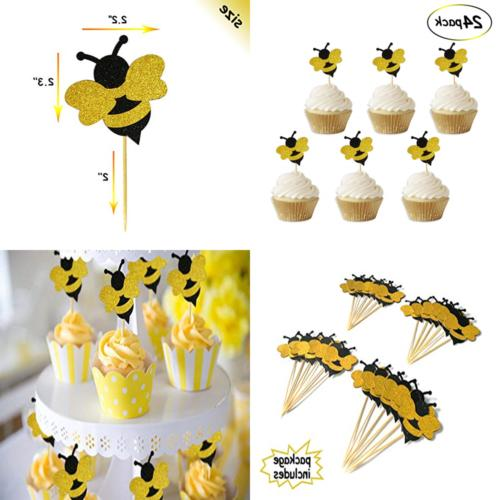 glitter bumble bee cupcake toppers for gender