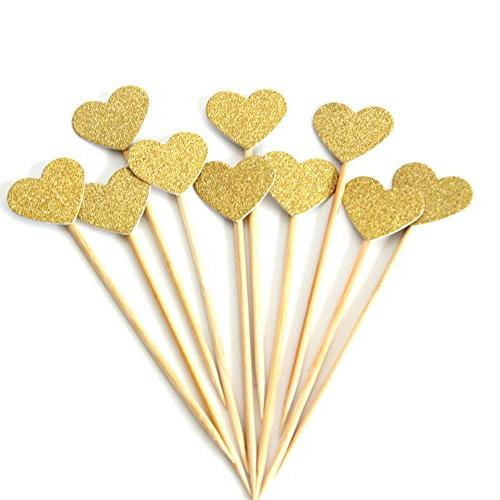 glitter gold heart cupcake toppers